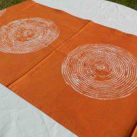 Batik Table Runner Orange Basket. Namibia.